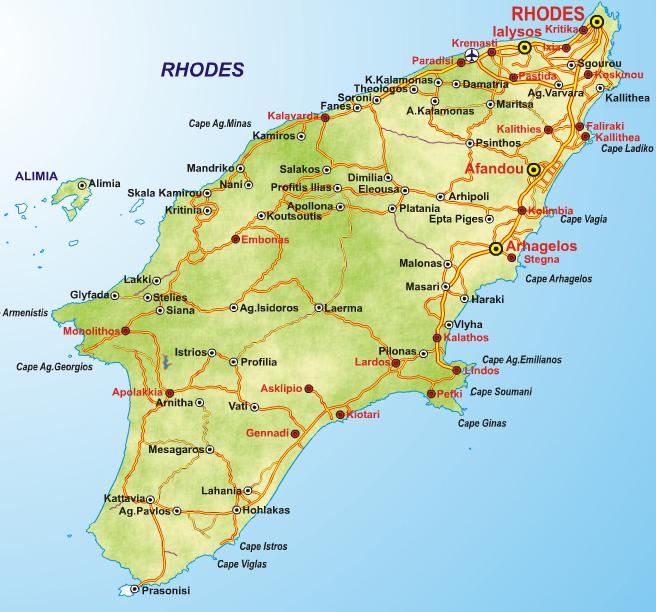 Rhodes Island Greece Map.Rhodes Useful
